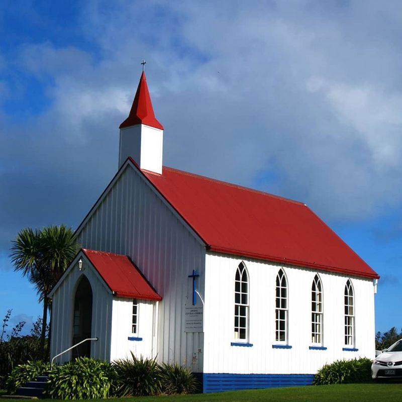 Low Maintenance gutters Awhitu Central Church NZ COLORSTEEL® MAXX® for costal conditions
